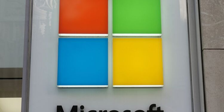 A Microsoft logo is pictured on a store in New York