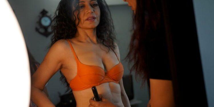 Geeta J gets ready for a lingerie photoshoot inside a studio in Mumbai